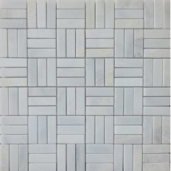 Bianca Luminous Roma Pattern Honed Marble Mosaic 50x15
