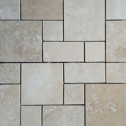 Classico French Pattern Filled Honed Travertine Mosaic