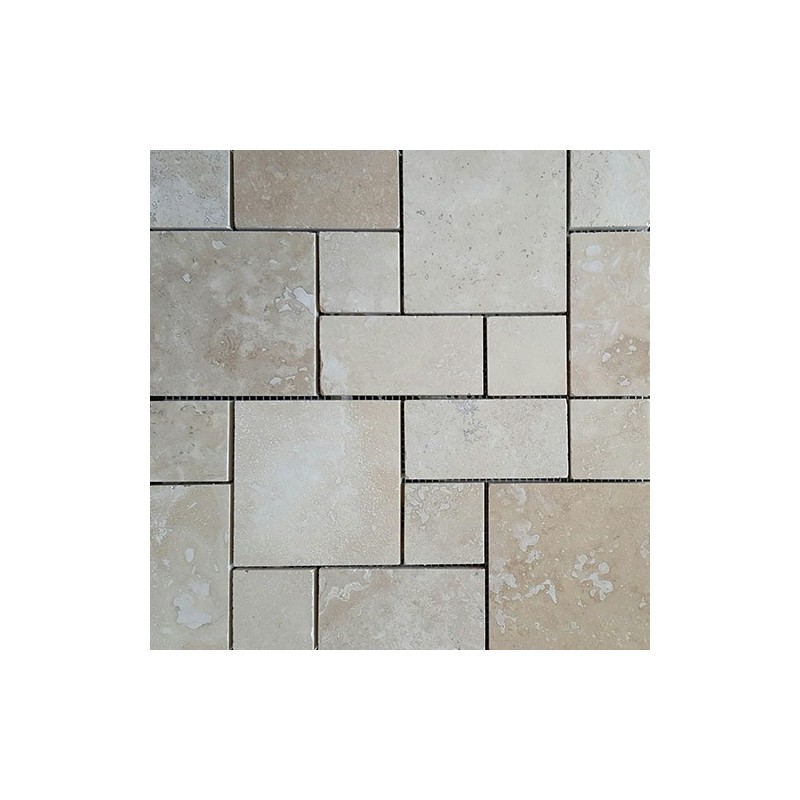 Classico Mini French Pattern Filled Honed Travertine Mosaic