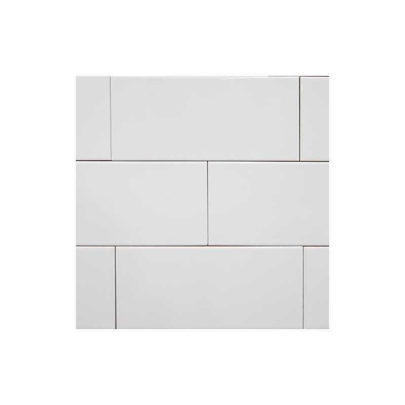 Spanish White Gloss Non Rectified Subway Ceramic Wall Tile