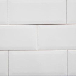 Spanish White Gloss Bevelled Subway Ceramic 200x100