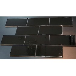 Black Gloss Non-Rectified Subway Ceramic 150x75