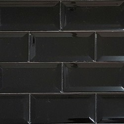 Black Gloss Bevelled Subway Ceramic 150x75