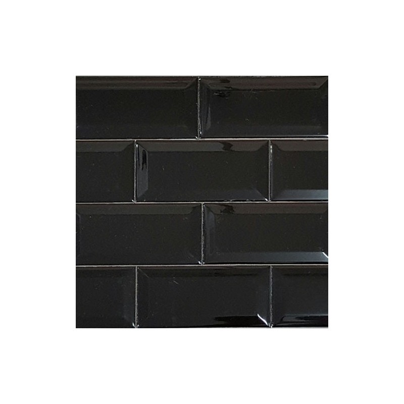 Black Gloss Bevelled Subway Tile Ceramic