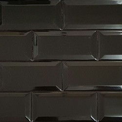 Spanish Black Gloss Bevelled Subway Ceramic 150x75