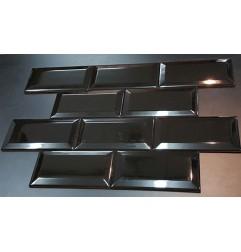 Spanish Black Gloss Bevelled Subway Ceramic 150x75