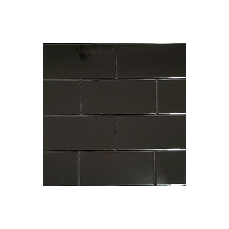 Spanish Black Gloss Non Rectified Subway Tile Ceramic 75x150