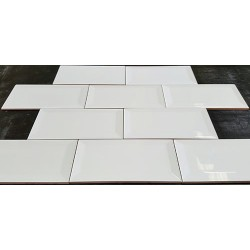 Spanish White Gloss Bevelled Subway Ceramic 150x75