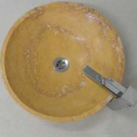 Giallo Honed Round Basin Travertine