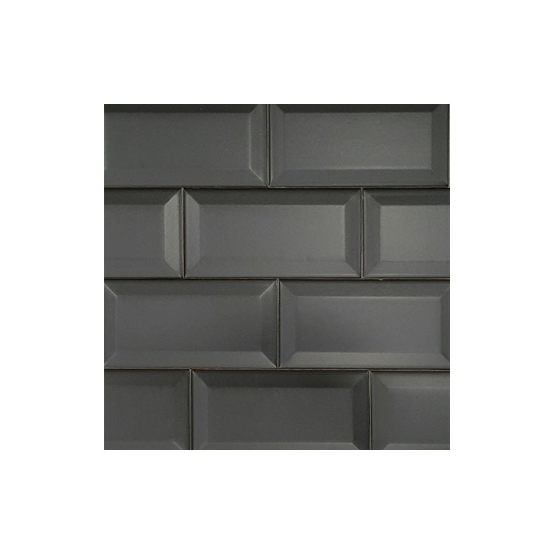 Black Matt Bevelled Subway Ceramic 150x75