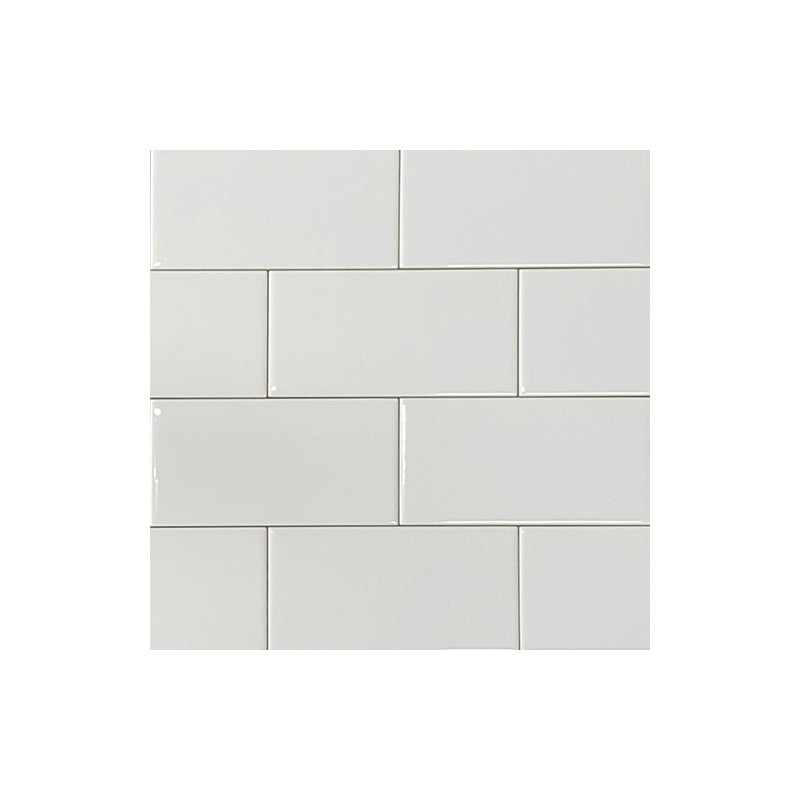 White Gloss Non-Rectified Subway Ceramic 150x75