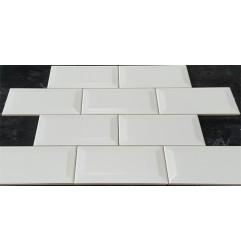 White Matt Bevelled Subway  Ceramic 150x75