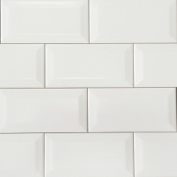 Spanish White Matt Bevelled Subway Ceramic 150x75
