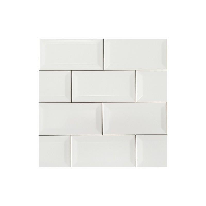 Spanish White Matt Bevelled Subway Ceramic 150x75