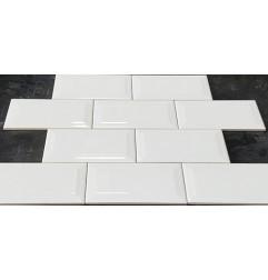 White Gloss Bevelled Subway Ceramic 150x75