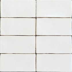 Spanish Handmade Super White Gloss Subway Ceramic 150x75