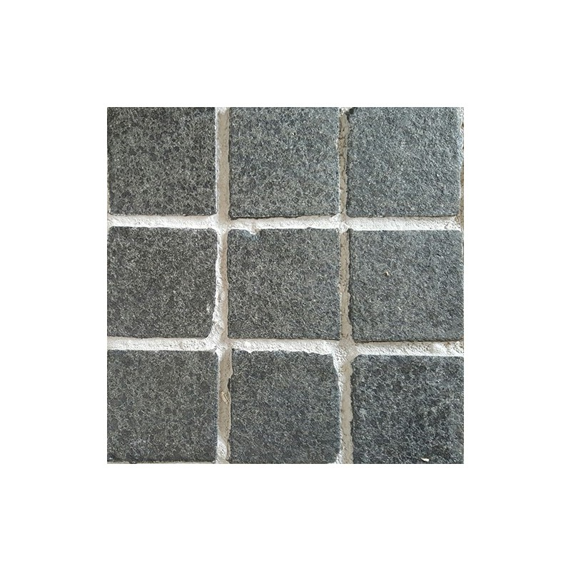 Diamond Black Flamed Straight Pattern Cobblestone Granite