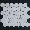 Bianca Luminous Hexagon Honed Marble Mosaic 42x42
