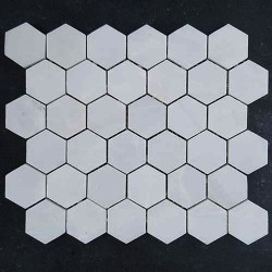 Bianca Luminous Hexagon Honed Marble Mosaic 42x42