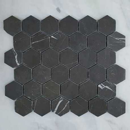 Pietra Grey Hexagon Honed Limestone Mosaic 42x42