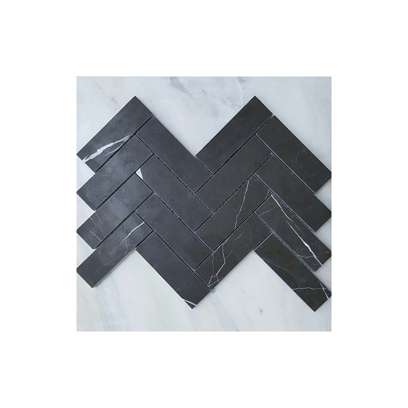 Pietra Grey Herringbone Honed Limestone Mosaic 128x40
