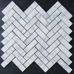 Persian White Herringbone Honed Marble Mosaic 64x20
