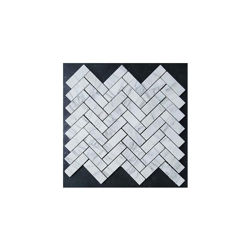 Persian White Herringbone Honed Marble Mosaic 64x20