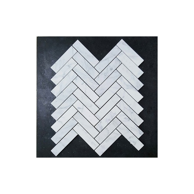 Carrara Herringbone Honed Marble Mosaic 98x25
