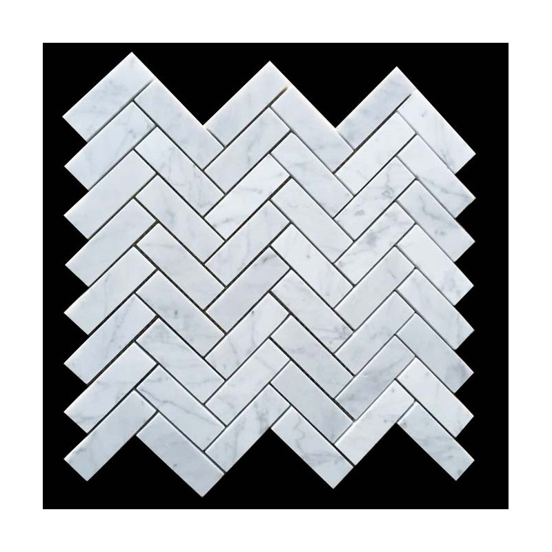 Carrara Herringbone Marble Mosaic 64x20 Bathroom Tiles