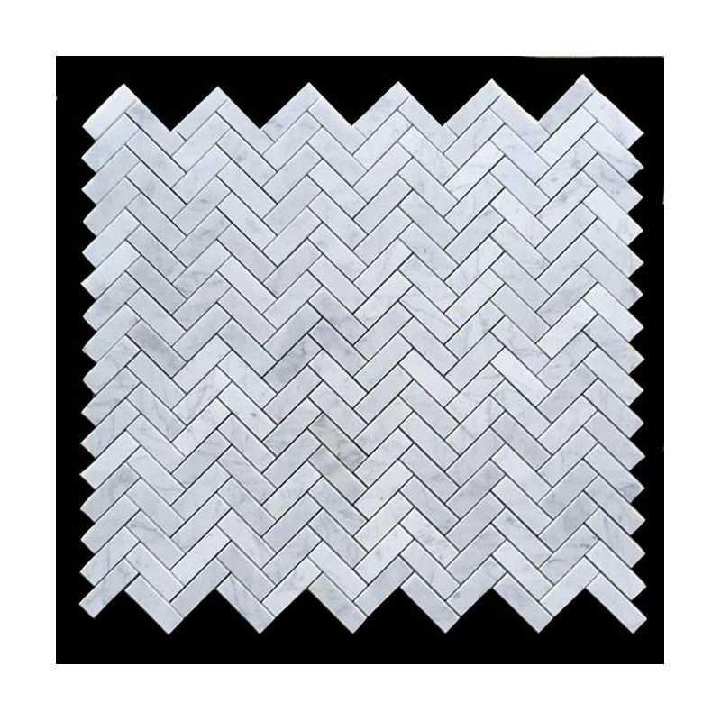 Carrara Herringbone Marble Mosaic 64x20 Bathroom Tiles