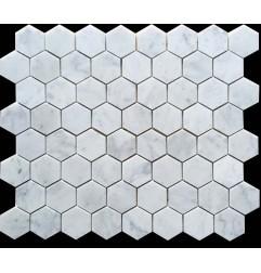 Carrara Hexagon Honed Marble Mosaic 70x70
