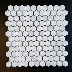 Carrara Hexagon Honed Marble Mosaic 25x25