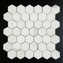 Calacatta Oro Gold Hexagon Honed Marble Mosaic 48x48