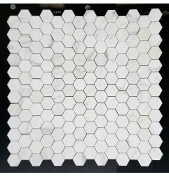 Calacatta Gold Hexagon Honed Marble Mosaic 48x48