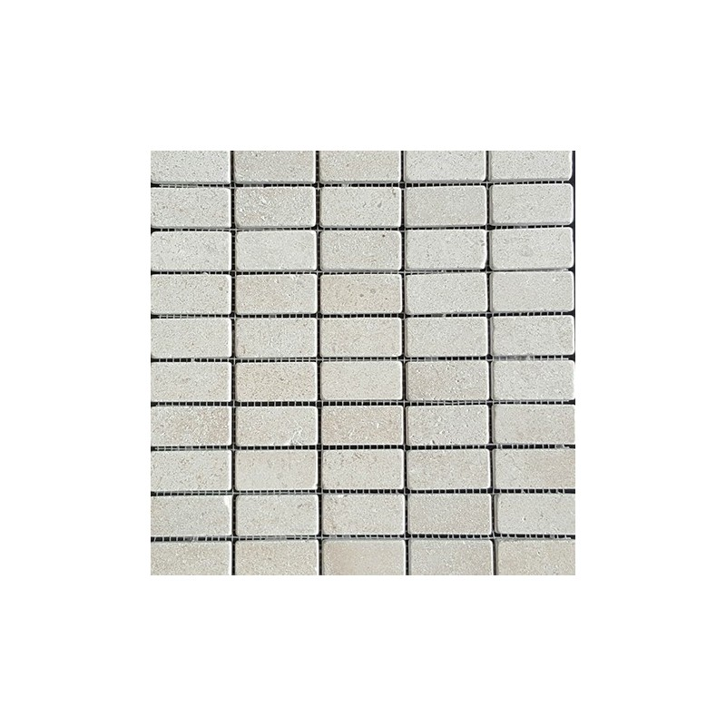 Crema Luminous Tumbled Limestone Mosaic 60x30