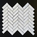 Bianca Luminous Herringbone Polished Marble Mosaic 64x20
