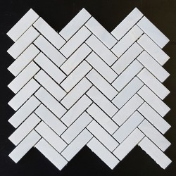 Bianca Luminous Herringbone Honed Marble Mosaic 64x20