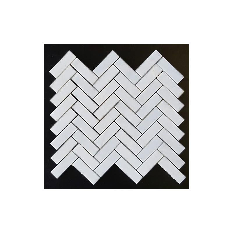 Bianca Luminous Herringbone Honed Marble Mosaic 64x20