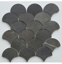 Pietra Grey Fan Honed Limestone Mosaic