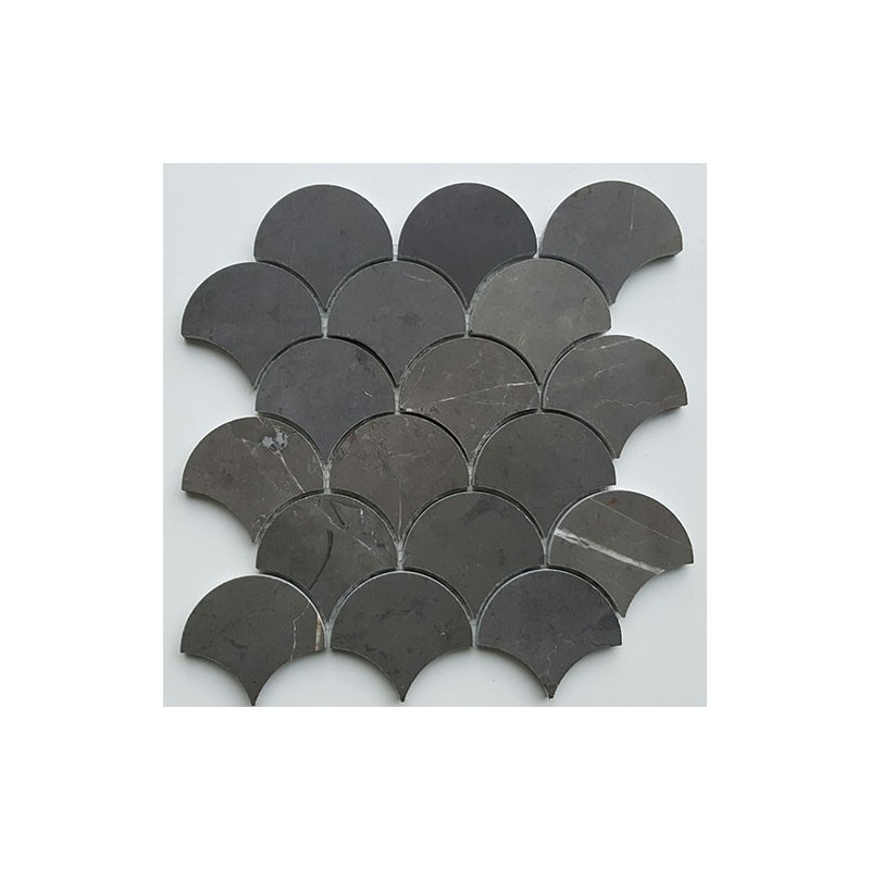 Pietra Grey Fan Honed Limestone Mosaic