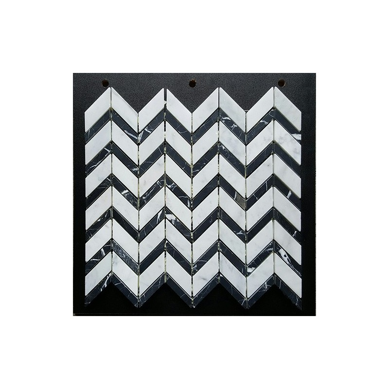 Carrara C & Nero Marquina Honed Chevron Marble Mosaic