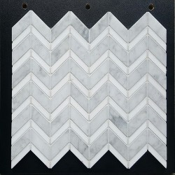 Chevron Carrara Honed & Thassos Polished Marble Mosaic