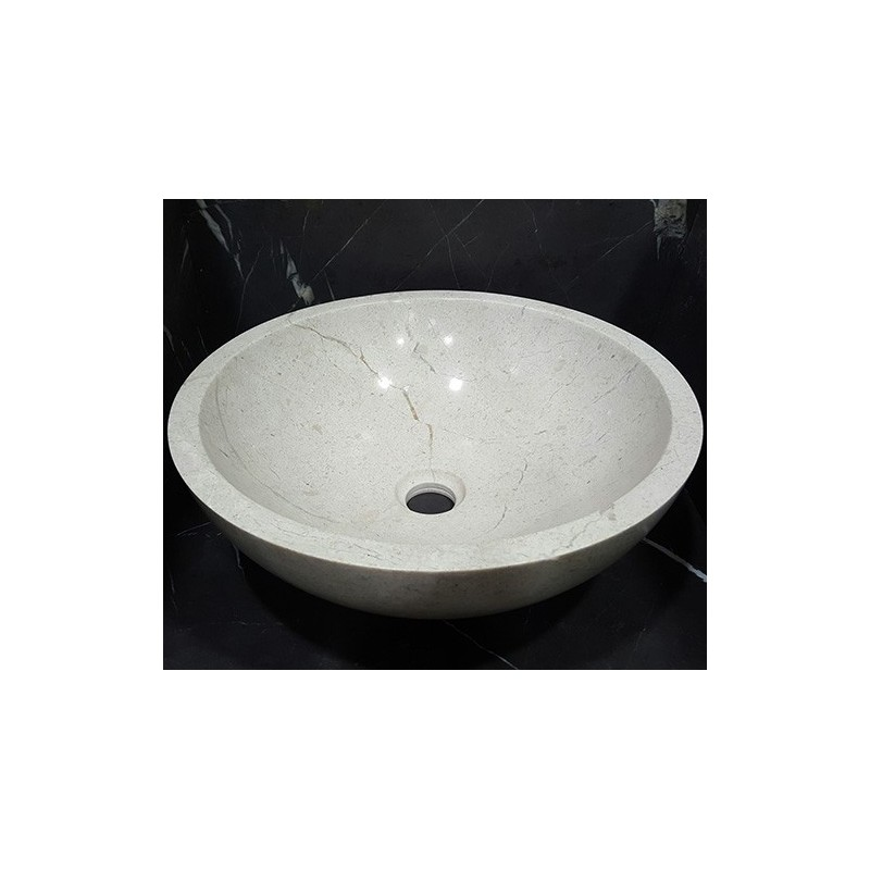 Persian Marfil Polished Round Basin Marble