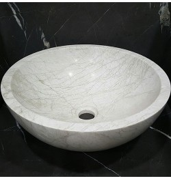 Bianca Perla Polished Round Basin Limestone