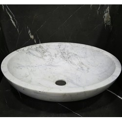 Persian White Honed Oval Basin Marble