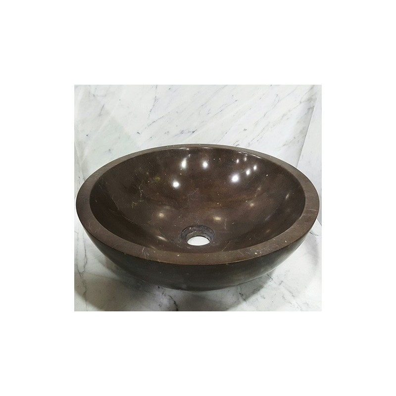 Pietra Brown Honed Round Basin Limestone