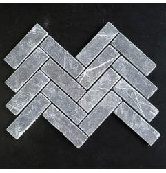 Pietra Grey Herringbone Tumbled Limestone Mosaic128x40