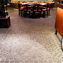 Diamond Black Flamed Fan Shape Cobblestone Granite