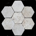 Classico HexagonTumbled Paver Travertine