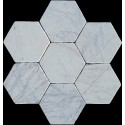 Persian White Hexagon Tumbled Paver Marble